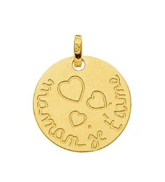 Médaille or ronde Je t'aime maman